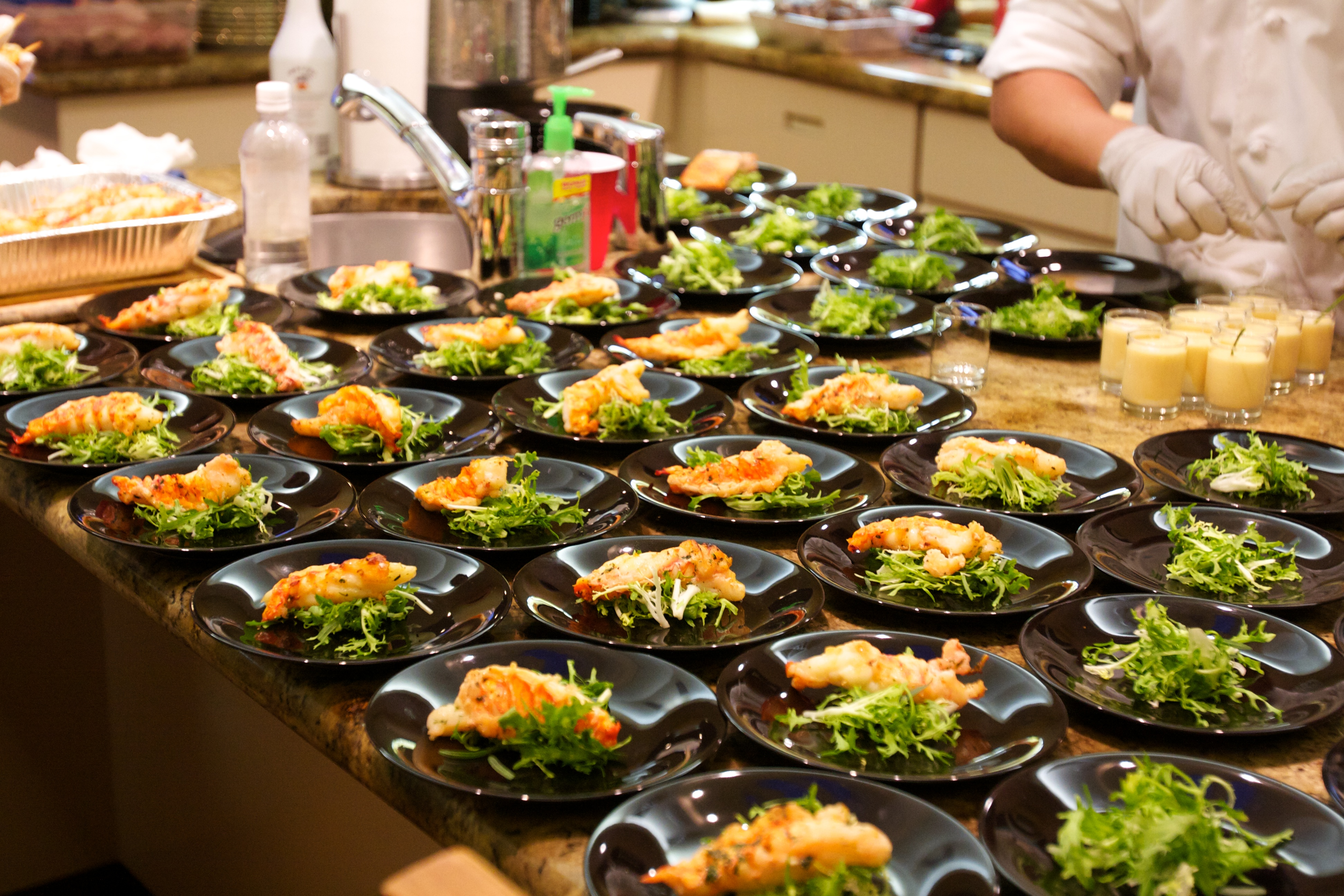Dinner Preparations in Kitchen & Plated Dinner | Events and Catering In Hawaii